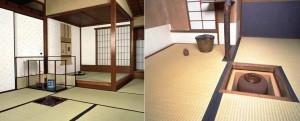 Casa de té estilo shoin (grandes dimensiones) y casa de té estilo sabi (pequeña). Escuela Omotesenke