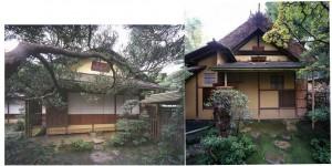 Exteriores de casa de té estilo shoin y casa de té estilo sabi. Escuela Omotesenke