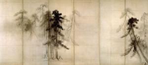 Pinos en la niebla. Tohaku Hasegawa. Siglo XVI. Museo Nacional de Tokio