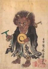 """""""Oni en ropas de monje"""". Kyosai Watanabe (1864). (Foto: Wikimedia Commons)"""