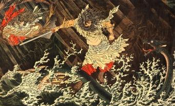 Susanoo se enfrenta a Orochi, la serpiente del mar. (Foto: Wikimedia Commons)