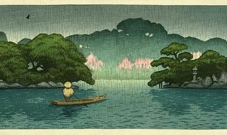 Barco en medio de la lluvia primaveral. Kawase Hasui (1920)