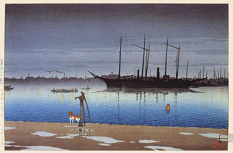 """Después de la lluvia en Akashi"". Kawase Hasui (1928)"