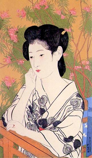 En el balneario. Hashiguchi Goyô (1920)
