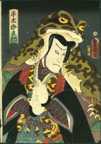 Heitaro Yoshikado disfrazado de rana. Utagawa Kunisada