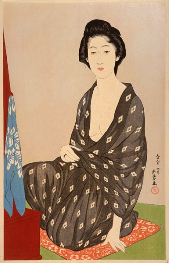 Mujer en kimono de verano. Hasiguchi Goyô (1920)