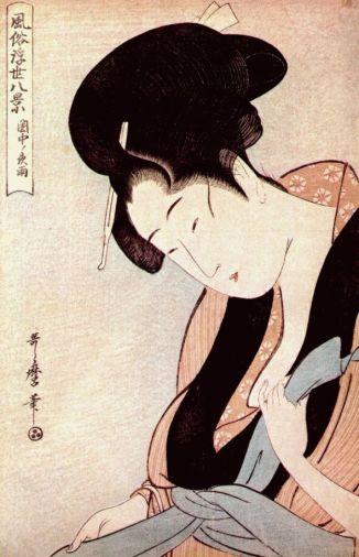 Mujer en su dormitorio en una noche de lluvia. Kitagawa Utamaro