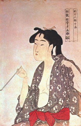 Mujer fumando. Kitagawa Utamaro