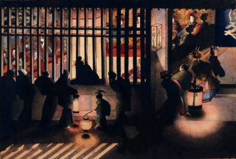 Escena nocturna en Yoshiwara, Katsushika Oei. (Wikimedia Commons)