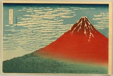 Fuji rojo, de Treinta y seis vistas del Monte Fuji. Katsushika Hokusai. (www.artelino.com)