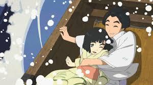 Ô-ei y su pequeña hermana Koto se mojan al alcanzarles en su barca una gran ola. (Fotograma de Miss Hokusai)