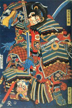 Samurái. Serie sin nombre de guerreros en combate (hacia 1833), Katsushika Hokusai. (www.artelino.com)