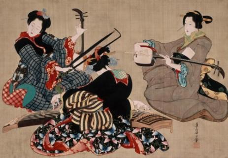 Tres mujeres tocando instrumentos musicales, Katsushika Oei. (Wikimedia Commons)