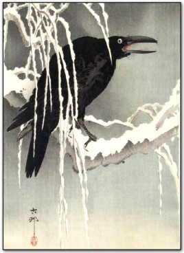 Ohara Koson, Cuervo sobre una rama nevada (1910). (www.ukiyoe.org)