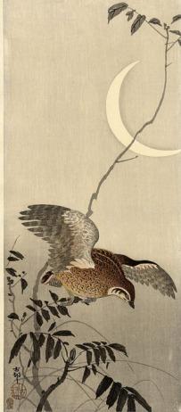 Ohara Koson, Pájaro bajo la luna creciente (1920)