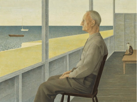 """La vejez de Shingo le sumerge en una ensoñación, de la que su familia queda desplazada. Imagen: David Alexander Colville, """"Anciano mirando al mar"""""""