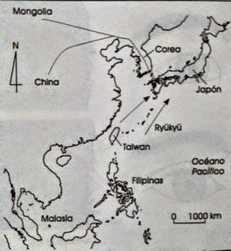 Mapa de incursión de pueblos en Japón durante el Paleolítico