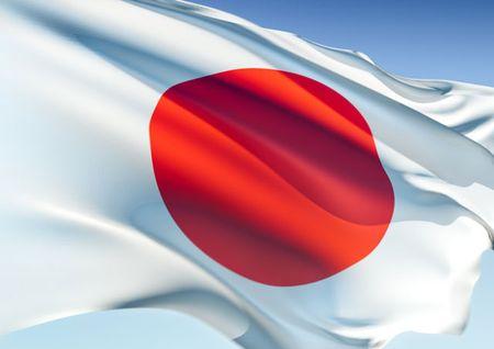 Bandera de Japón ondeando