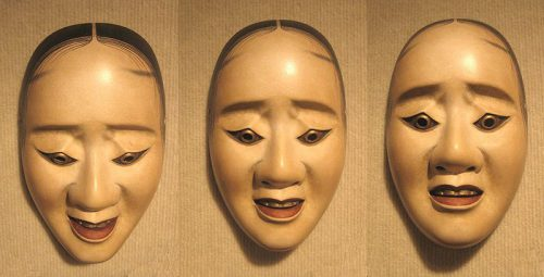 three_pictures_of_the_same_noh_hawk_mask_showing_how_the_expression_changes_with_a_tilting_of_the_head
