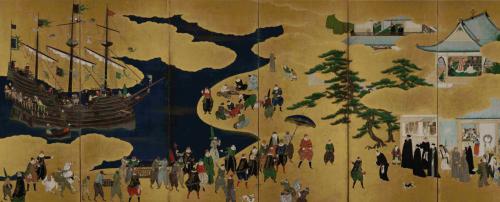 Delegación portuguesa en Japón. Muestra de pintura nanban que se encuentra en el Museu Nacional de Arte Antiga, Lisboa. (Fuente: Wikimedia Commons)