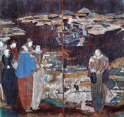 """Cristianos japoneses en traje portugués. Pintura de autor desconocido, realizada entre los siglos XVI y XVII. Se encuentra en la obra de Arnold Toynbee """"A Study of History"""". (Fuente: Wikimedia Commons)"""