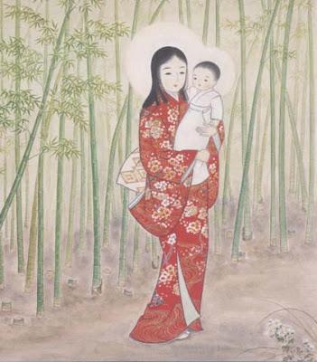 """Madonna del Bambú. Pintura colgante kakejiku llamada """"de verano"""". Se encuentra en el convento japonés de las Carmelitas de la Santa Trinidad en Chofu-shi, Tokio."""
