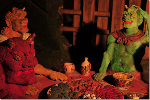 Los guardianes de Jigoku, el infierno budista, han dado a los oni su imagen característica. (Foto: Cuevas de Ryumyoji en Ishikawa. Imagen cedida por saname777)