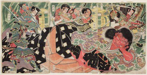 """""""Minamoto no Yorimitsu y sus cuatro sirvientes matan a Shutendôji"""". Grabado de Katsukawa Shuntei_museo-de-bellas-artes-de-boston"""
