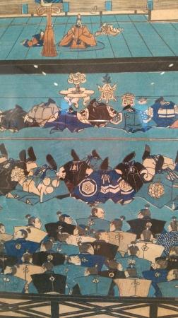 Ofrenda de agradecimiento en el palacio de Kamakura, Utagawa Yoshitsuya. (Detalle)