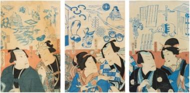 Hanji-e (juego visual) con los actores de kabuki, Utagawa Hiroshige II