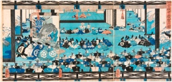 Ofrenda de agradecimiento en el palacio de Kamakura, Utagawa Yoshitsuya