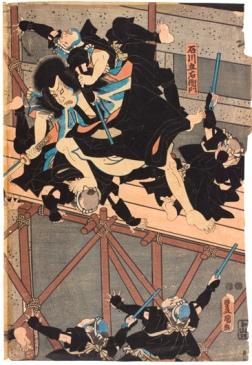 Ishikawa Goemon en el teatro kabuki, Utagawa Kunisada