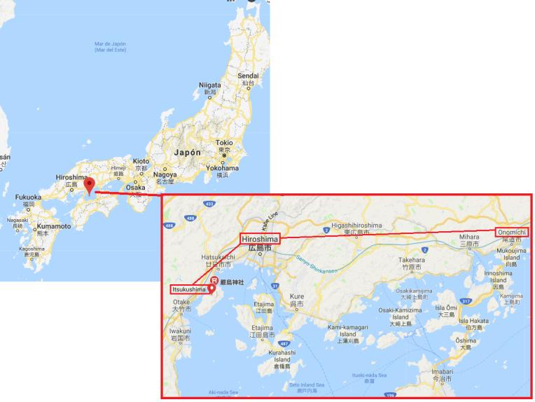 Mapa Excursiones Hiroshima